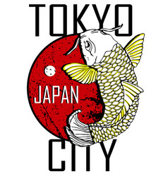 tokyo city and gold fish poster design vector image vector image