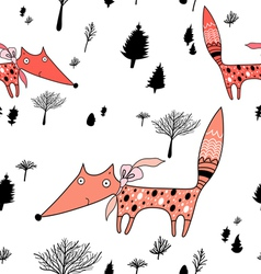 winter pattern with trees and foxes vector image