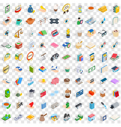 100 pharmacy icons set isometric 3d style vector image