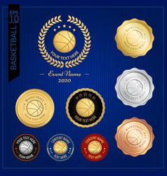 set of basketball badge label or emblem for sport vector image
