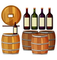 Wine bottles and wooden barrels vector image
