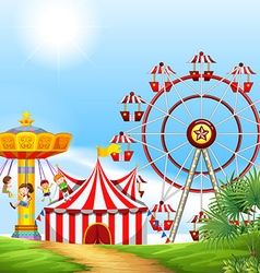 Children having fun at the carnival vector image vector image