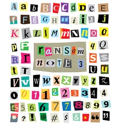 Ransom Note 3- Cut Paper Letters Numbers vector image