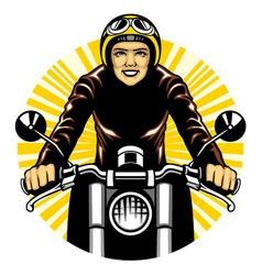 woman ride a motorcycle vector image vector image