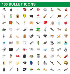 100 bullet icons set cartoon style vector
