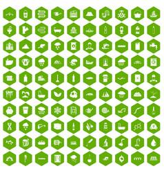 100 water supply icons hexagon green vector