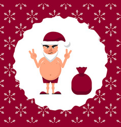 a fat man in santa hat vector image