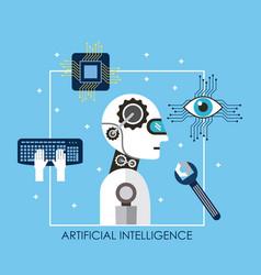 artificial intelligence robot tool keyboard board vector image