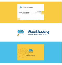 beautiful brain circuit logo and business card vector image
