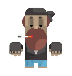 biker in bandana and leather vest smoking vector image
