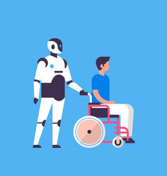 Bot helper hold man wheelchair medical care vector