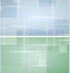 Bright green and blue tech geometric backgrounds vector