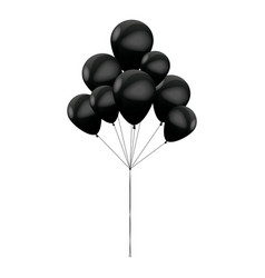 bunch black balloons celebration party vector image
