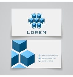Business card template Abstract cubes vector image