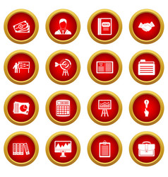 Business plan icon red circle set vector