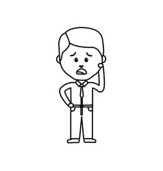 Businessman line cartoon face sad expression vector