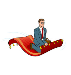 businessman on magic carpet pop art vector image