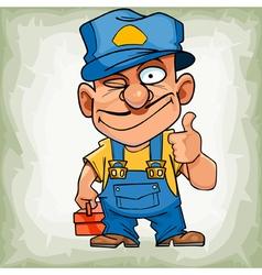 cartoon funny man plumber in uniform showing thumb vector image