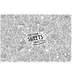 Cartoon set sweets theme items objects vector