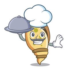 Chef with food sea shell mascot cartoon vector