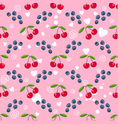cherry blueberry white heart on pink seamless vector image