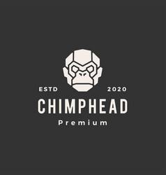 chimp head hipster vintage logo icon vector image
