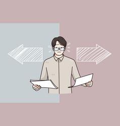 Choice business decision different ways concept vector