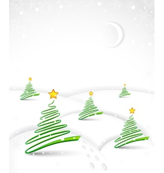 Christmas with abstract trees vector