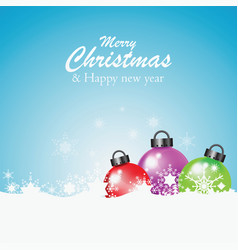 colorful christmas ball with snowflakes vector image