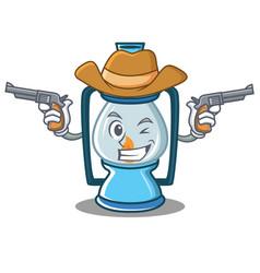 cowboy lantern character cartoon style vector image