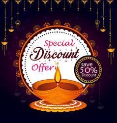 creative diwali sale banner with diya and vector image