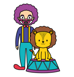 cute circus lion in stage with clown vector image