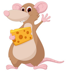 Cute mouse cartoon holding a chesee vector