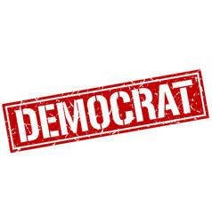 Democrat square grunge stamp vector