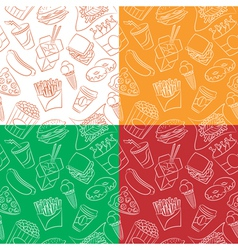 Different seamless with fast food vector image