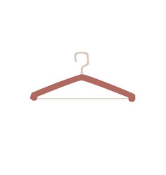 empty wooden clothes hangers with hook icon flat vector image