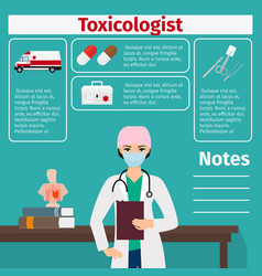 Female toxicologist and medical equipment icons vector