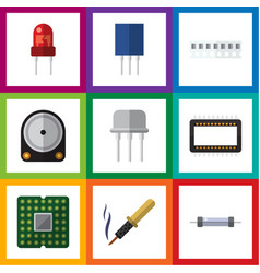 Flat icon device set of hdd recipient resist and vector