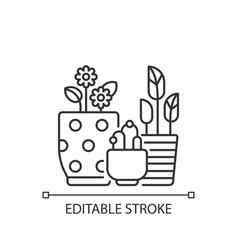 flower planters linear icon vector image