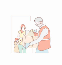 Food delivery family quarantine coronavirus vector
