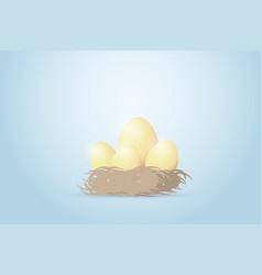 Four golden eggs in nest investment concept vector