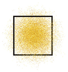 gold glitter spray with frame golden sparkles vec vector image