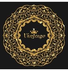 gorden glitter frame Vintage gold frame vector image