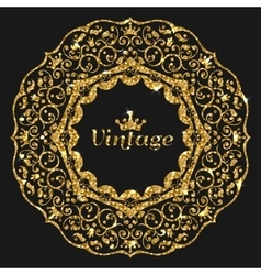 Gorden glitter frame Vintage gold frame vector