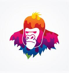 Gorilla head king kong face angry big monkey vector