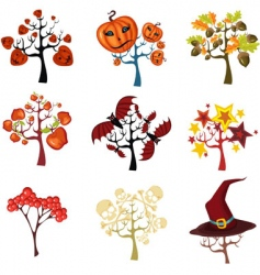 Halloween tree set vector image
