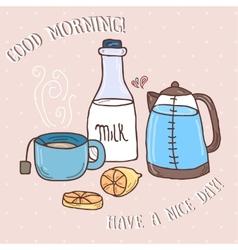 Hand drawn set of tea essentials - cups vector