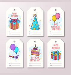 happy birthday greeting cards or ready-to-use gift vector image