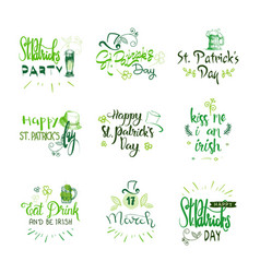 happy st patricks day badges set hand drawn vector image
