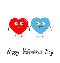 happy valentines day sign symbol red blue heart vector image